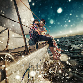 at sea by Eugene Schultz - People Couples ( love, water, kiss, yacht, sea, couple )