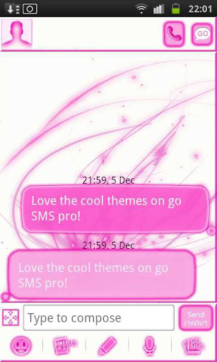 Pink Chill Go Sms Theme