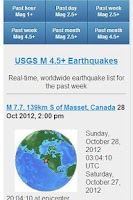 Screenshot of USGS Earthquake Data