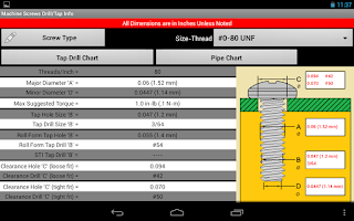 Screenshot of Machine Screws Drill/Tap Info