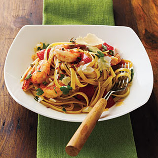 Roasted Red Pepper and Herb Pasta with Shrimp