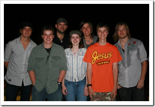 L. to R. Jake, Molly, and Sam with the Needtobreathe guys