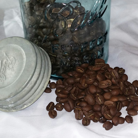 coffee jar by Howard Guldi - Food & Drink Alcohol & Drinks ( coffee beans, beans, coffee, mason jar, roast )