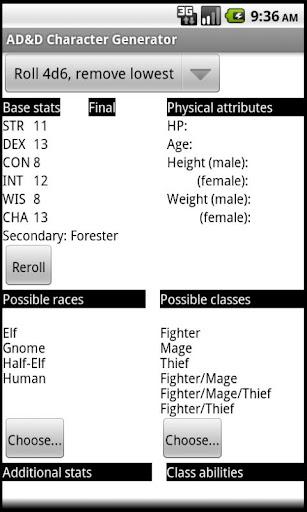 AD D Character Generator
