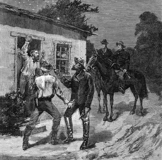 The Jerilderie police bailed up by the Kelly Gang as imagined by the Illustrated Australian News.