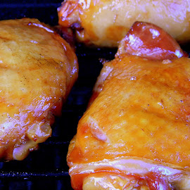 Smoked chicken thighs on the grill by Liz Hahn - Food & Drink Meats & Cheeses