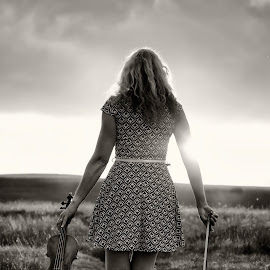 We Part - The Violinist by Dominic Lemoine Photography - People Musicians & Entertainers ( violin, female, sunset, bnw, violinist )