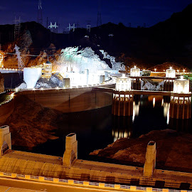 Hoover Dam at Night by Vern Tunnell - Buildings & Architecture Architectural Detail