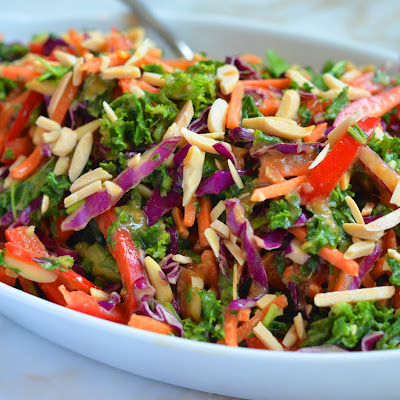 Asian Kale Slaw with Ginger Peanut Dressing