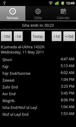Namaaz Times for Mumineen