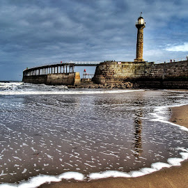 Whitby lighthouse by Sue Morgan - Landscapes Beaches ( sand, lighthouse, whitby, beach, seascape )