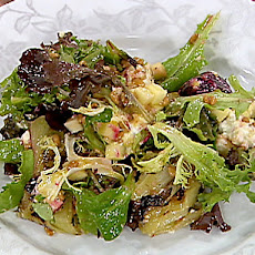 Mixed Green Salad with Roasted Baby Beets, Green Apples and a Spring Onion and Orange Vinaigrette