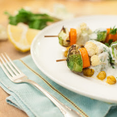 Vegetable Kebabs with Curried Chickpeas and Yogurt Sauce