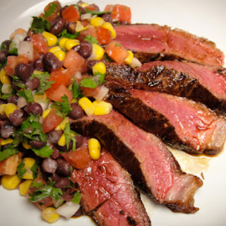 Strip Steak with Black Beans, Corn, and Cilantro