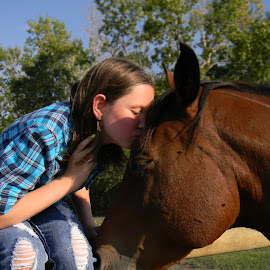 Equine Love by Amber Earnest - Babies & Children Children Candids ( child, kiss, kissing, girl, horse, cute,  )