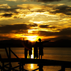 Sunset Trooper by Taufik Hidayat - Landscapes Sunsets & Sunrises ( #bridge, #kids, #sunset )