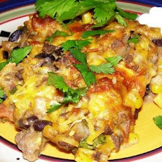 Low Fat Beef and Sour Cream Enchilada Casserole