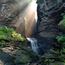 Hopeful Rays Bless Minnehaha Falls by Gene Walls - Landscapes Travel ( glen, state park, waterfall, falls, stone, rock, minnehaha, watkins glen, steps, ny, rays, sun,  )