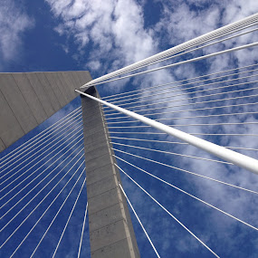 Looking Up! by Daniel Gorman - Abstract Patterns ( clouds, patterns, sky, suspension bridge, ravenel bridge, bridge )