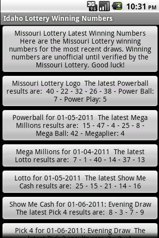 Missouri Lottery Winning Numbe