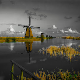 Kinderdijk Magic by Vojkan Milosev - Buildings & Architecture Statues & Monuments ( water, magic, kinderdijk, idyllic, holland, monument, windmill )