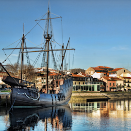 Nau Vila do Conde by Antonio Amen - Transportation Boats ( houses, docked, vila do conde, ship, nau, river )