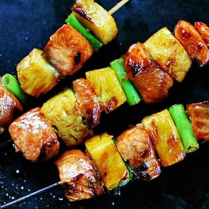 Salmon Teriyaki Skewers with Pineapple