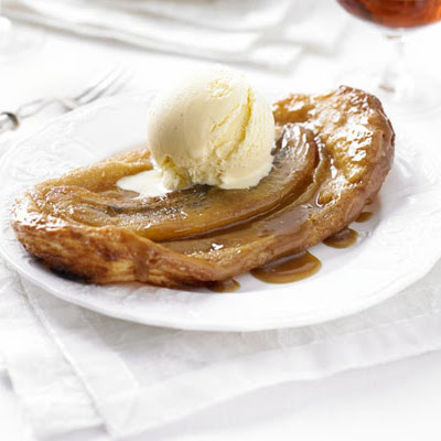 Salted caramel banana Tatins with crème fraîche ice cream