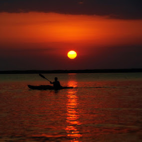 Sunset Row by Jamie Myers - Landscapes Waterscapes ( water, islamorada, red, sunset, canoe, ocean, beach, boat, row, sun,  )