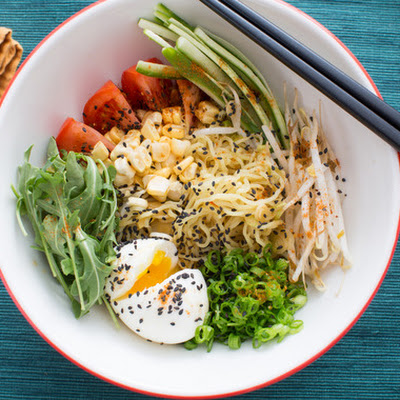 Summer Vegetable Hiyashi Chuka with Fresh Ramen Noodles & Soft-Boiled Eggs