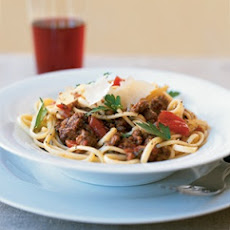 Linguine With Red Wine Bolognese Sauce