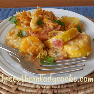 CHEESY BACON YELLOW SQUASH CASSEROLE