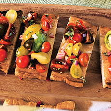 Tomato, Red Onion, and Basil Bruschetta