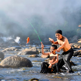 Fishing at River by Indrawaty Arifin - People Family ( fish, son, fishing, river, father,  )