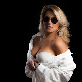 Risky Business by Jeff Klein - People Portraits of Women ( studio, julie, model, glasses, white, sunglasses, black, portrait, shirt )
