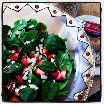 Spinach-Strawberry Salad with Goat-Cheese Bruschetta