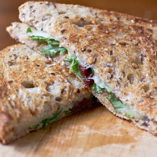 Grilled Cheese Recipe with arugula dried cherries and hazelnut butter