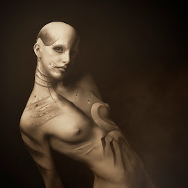 Old Saterion by Paul Baybut - Nudes & Boudoir Artistic Nude ( body, sepia, nude, female, naked, dark, artistic nude, moody, alien, bodypaint, surreal )