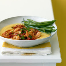 Shrimp and Tomatoes over Soft Polenta