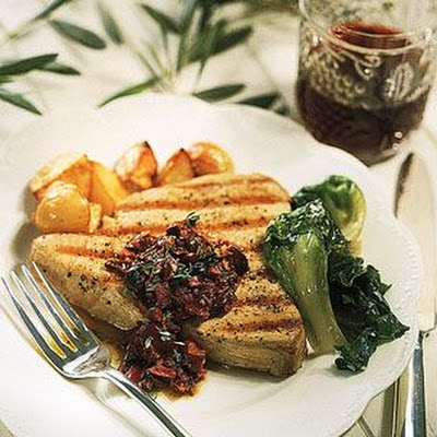 Grilled Tuna with Sun-Dried Tomatoes and Olives