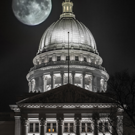 Moon Over Madison by Andy Taber - Buildings & Architecture Public & Historical ( , selective color, pwc )