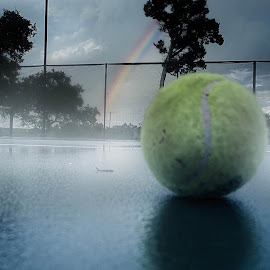 Over the Tennis Ball by Kelley Ahr - Sports & Fitness Tennis ( tennis, rainbow, september )