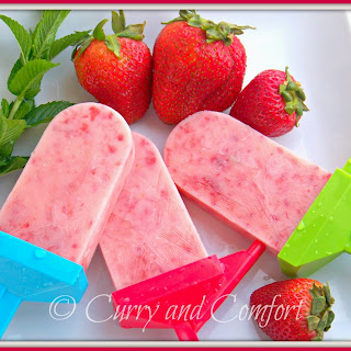 Strawberry Tropical Juice Yogurt Popsicles