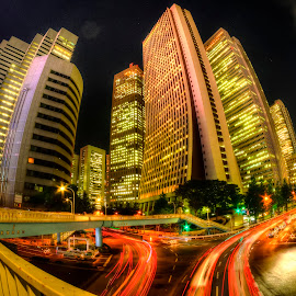 Shinjuku night by Hiro Nakajima - Buildings & Architecture Office Buildings & Hotels ( exposure, hdr, tokyo, night, shinjuku )