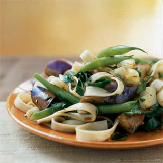 Eggplant and Onion Noodle Salad with Warm Soy-Rice Vinaigrette