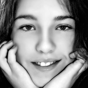Happy by Manuela Dedić - Black & White Portraits & People ( Emotion, portrait, human, people, , black and white, b&w, child )