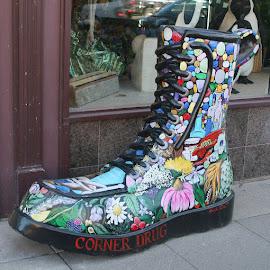 Outstanding Art Work by Dan Dusek - City,  Street & Park  Street Scenes ( city sidewalk, boot, artistic object, city street, artwork,  )