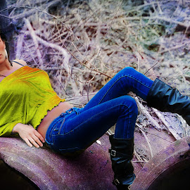 beauty in color by Terenti Bittner - People Fashion ( girl, metal, beautiful, jeans, gold, woods )