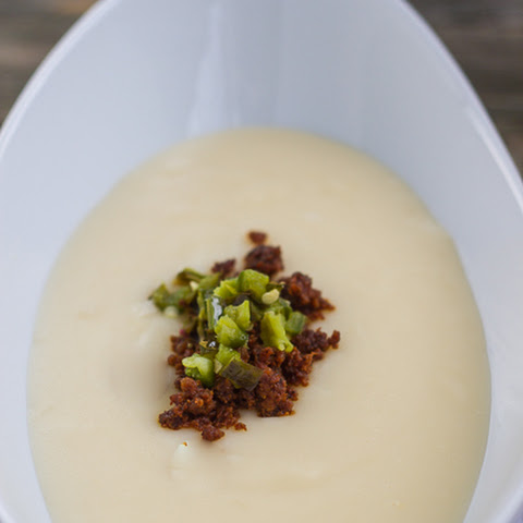 Cheesy Potato Soup with Mexican Chorizo & Roasted Jalapenos