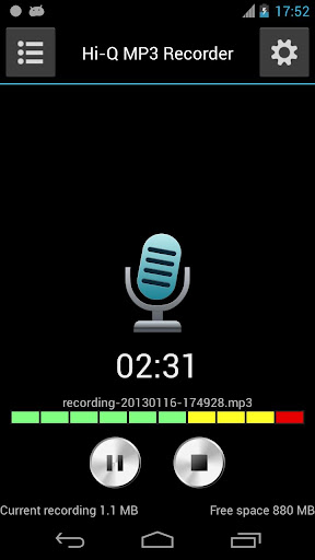 hi-q-mp3-voice-recorder-free for android screenshot